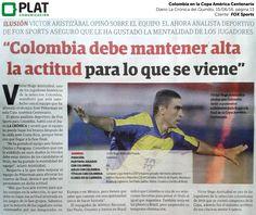 FOX Sports: Entrevista a Víctor Hugo Aristizábal en el diario La Crónica del Quindío de Colombia (15/06/16)