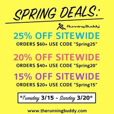 """ONLY 2 DAYS LEFT! SPRING SALE BEGINS NOW! Exclusive sale codes below:  25% off sitewide on orders $60 use code Spring25""""  20% off sitewide on orders $40 use code Spring20  15% off sitewide on orders $20 use code Spring15 ________________________________________________________#BuddyPouch#TheRunningBuddy#RunningBuddy#RunNerd#runningaddict#runninggear#runnergang#runnerlife#runnergirls#RunDisney by buddypouch"""