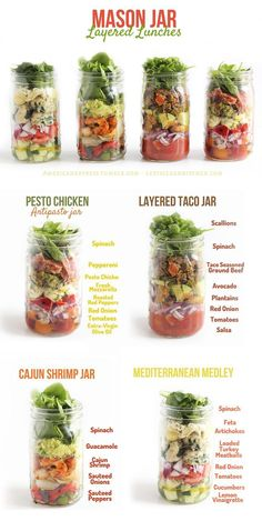 I LOVE making mason jar salads and these ideas are awesome! SO easy to do them in batches and just take with you. They stay very fresh, too. Great for teachers!