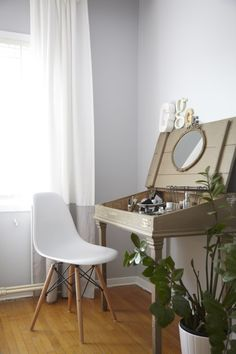 Toronto home tour. bedroom dressing table eames chair