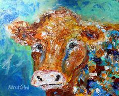 Original oil painting Portrait of a Cow textured by Karensfineart