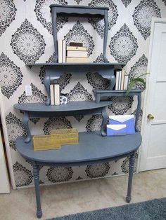 Amy Devers Home Made Simple project Shelving from tables via Family Family Family Furniture Projects, Furniture Making, Furniture Makeover, Home Projects, Home Furniture, Repurposed Furniture, Painted Furniture, Arte Pallet, Home Made Simple