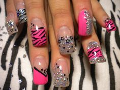 bright pink nails with gold glitter - Google Search