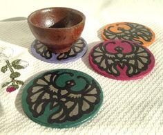 Bat Hanji Paper Coasters Traditional Korean Design by #HanjiNaty, $22.00