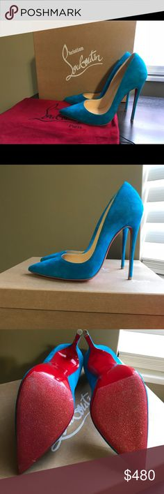 Christian Louboutins Blue Suede Heels Authentic Christian Louboutins, discontinued color of Egyptian Blue, size 7/37 120mm So Kate, originally $675 I bought these off another user which came in mint condition, but sadly they do not fit my wide foot :'( otherwise I'd keep them!  They will come with original dustbag, I've added the skid-resistant pads at the bottom of the Sole to preserve the red soles.   If you know about CL, they are a bit narrow at the toes, so I would suggest someone with…