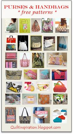Quilt Inspiration: Free pattern day: purses, handbags and zipper bags Purse Organizer Pattern, Tote Pattern, Diy Handbag, Diy Purse, Bag Patterns To Sew, Quilt Patterns Free, Handbag Patterns, Christmas Quilt Patterns, Quilted Bag