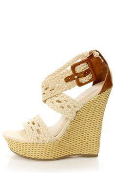 Crocheted Wedge Sandals
