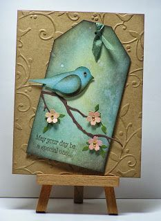 """handcrafted card by Cathy . tag with Stampin' Up """"Bird Builder"""" punched bird . embossing folder background given more depth with Distress inks . gorgeous sponged aqua blues and golden brown . Atc Cards, Bird Cards, Butterfly Cards, Card Tags, Flower Cards, Stampin Up Cards, Gift Tags, Kirigami, Copics"""
