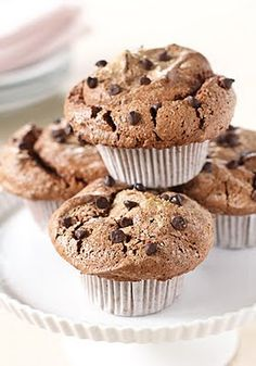 Chocolate angel food muffins. Love angel food cake. Love chocolate. Love muffins. Love these.
