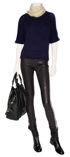 Skinny leather pants, FAB Laurence Dacade boots. Love the scarf and the urban cool mix of black and navy.