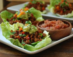 #Whole30 - Tacos Taco Veggie Lettuce Cups 1 pound 100% grass-fed beef 1 bell pepper, diced (color of choice, I used half red and half orange) 2 to 3 green onion, diced Taco Seasoning Lettuce Leaves, washed and dried Fresh Guacamole and Salsa Cilantro, green onion, and bell pepper for garnishing (optional)