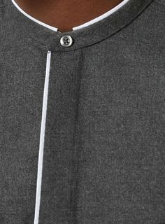 Smart shirts - Grey and White Stand Collar Slim Fit Smart Shirt African Shirts For Men, African Dresses Men, African Clothing For Men, Nigerian Men Fashion, African Men Fashion, Mens Fashion, Stand Collar Shirt, Collar Shirts, Gents Kurta Design