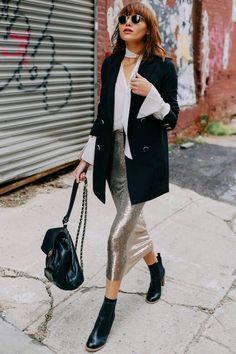 Paillettes midi skirt, white shirt, long black blazer, ankle boots