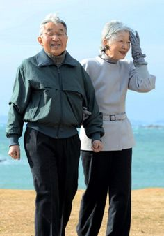 Emperor Akihito and Empress Michiko take a walk a coast near Hayama Villa on 7 Feb 2013 in Kanagawa, Japan.
