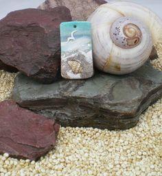 Bead Focal Bead Seascape Polymer Clay Bead Polymer by StudioStJames, $10.00