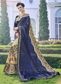 Navy Blue & Beige party wear sari Latest Designer Sarees, Party Wear Sarees, Navy Blue, Sari, Beige, How To Wear, Stuff To Buy, Fashion, Taupe