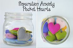 Separation Anxiety Pocket Hearts: Young children often have trouble separating from their caregivers. It sometimes helps for them to carry transitional objects (ex. a photo) with them to help manage their anxiety during time apart. The caregiver can make these hearts for their child on their own, or the dyad can create them together (Click here for a tutorial). The hearts can be substituted by any other handmade or personal items the family desires. Just before each separation the caregiver…
