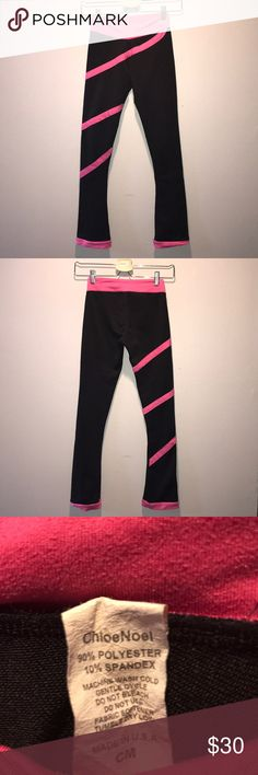 Chloe Noel spiral ice skating pants Child's medium. These pants are in really good shape. Comes from a smoke free home. Model p06 fuschia color on black. Pans are 4 inches longer to go over the heel of the skate chloe noel Bottoms Leggings