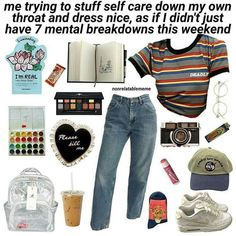 Finals are going to be shit . Credi tips tips closet tips for clothes tips for travel Retro Outfits, Vintage Outfits, Cute Outfits, Aesthetic Fashion, Aesthetic Clothes, Teen Fashion, Fashion Outfits, Aesthetic Memes, Look Girl