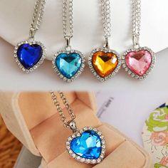 USA Women Lady Heart Shape Crystal Rhinestone Heart Sharped Pendant Necklace