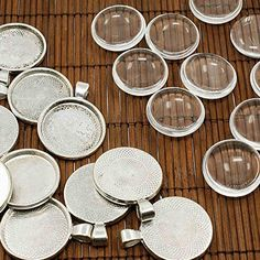 PEPPERLONELY Brand 10 Sets Antiqued Silver Cabochon Frame Setting Tray Pendant with Clear Round Glass Dome Tile Cabochon 30mm (1-1/6 Inch), http://www.amazon.com/dp/B00OMV12X2/ref=cm_sw_r_pi_awdm_uoolvb06QSA62