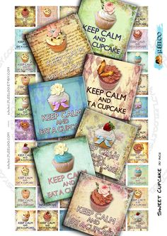 Instant Download  Digital collage sheet  SWEET CUPCAKE por JLeeloo, $3.60