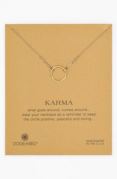 Free shipping and returns on Dogeared 'Reminder - Karma' Boxed Pendant Necklace at Nordstrom.com. A handcrafted vermeil chain clings to a continuous, hammered pendant with mottled shine and cosmic symbolism.