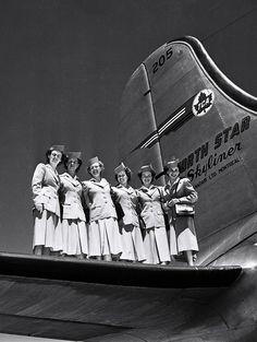 vintage everyday: Classic Flight Attendant – Interesting Snapshots of Stewardesses Posing with Airplanes in the Past Canadian Airlines, Airlines American, Carnival Girl, Canadian History, Cabin Crew, Air Travel, Flight Attendant, Vintage Travel, Vintage Air