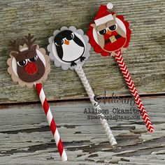 nice people STAMP!: Christmas Punch Art Lollipops w/ Owl Builder Punch