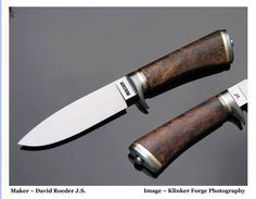 """Gentleman's Hunter""  5 1/4"" 5160 blade, 10 1/2"" O.A.L. Heat colored stainless guard and buttplate. Threaded tang with Finial nut. Stabilized Spalted Koa handle."