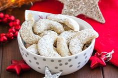 Vanillekipferl (German Vanilla Crescent Cookies) are traditional German Christmas Cookies made with ground nuts and dusted with vanilla sugar! They are tender, nutty and melt in your mouth. A perfect cookie to make ahead that's always a hit. German Christmas Cookies, German Cookies, Holiday Cookies, Christmas Baking, Christmas Goodies, Christmas Recipes, Holiday Recipes, Christmas Time, Xmas