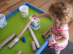 Playing with play dough and cardboard tubes - lots of fun ideas