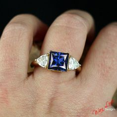 Blue Sapphire & Moissanite 3 Gemstone Engagement by WanLoveDesigns