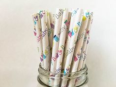 Baby Paper Straws Baby Theme Straws Paper Straws by ThePartyGnome