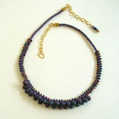 Purple Flat Kumihimo Rope with Metallic Bead by jetadorn on Etsy