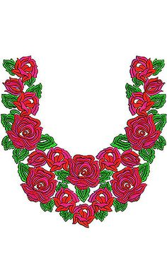 Now you can enjoy our Premium Range Embroidery Designs of Neck Embroidery Neck Designs, Rose Embroidery, Embroidery Patterns, Crochet Patterns, Tunic Designs, Designs For Dresses, Dress Neck Designs, Textiles, Textile Patterns