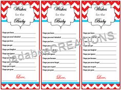 Baby Shower Well Wishes by JadaBeeCREATIONS on Etsy, $4.00