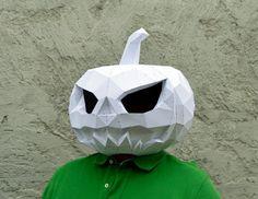 Hacer la mascarilla de calabaza.   Máscara de calabaza de papercraft   Máscara de Halloween   Calabaza de papel   Jack-o   Disfraz de Halloween   Papiro de llano