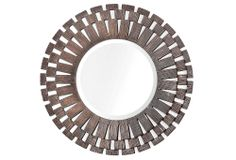 "Fischer Mirror  https://www.onekingslane.com/invite/featured US$219.00 ($440.00 Retail)  Made of: wood ;  Size: 30""W x 30""H ;  Weight: 34 lbs ;  Finish: pewter"