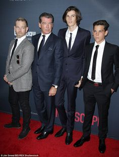 Dashing brood: Pierce Brosnan was joined by his three sons to celebrate the premiere of his latest film, No Escape, on Monday night