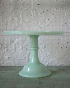 "12"" Jadeite milk glass cake plate by Bountiful Cake Plates.  $69.00"