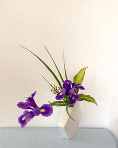 "Ikebana by Junko on Instagram: ""#池坊 #いけばな教室 #ロンドン #自由花#ikebana #ikenobo #ikebanaclass #london #japaneseflowerarrangement #rikka #iris #freestyle"" Deco Floral, Floral Design, Arreglos Ikebana, Bonsai, Floral Arrangements, Iris, Beautiful Flowers, Vase, Funny Photos"