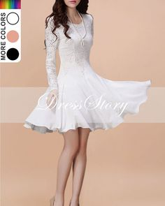 White Lace Chiffon Dress / Little White Dress / White Fit and Flare Dress / Long Sleeve Lace Dress ... but long, not short