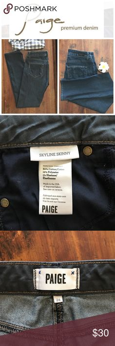 "Paige Skyline Skinny size 26 Very good used condition. I bought these jeans on Posh thinking they would fit like my white denim Paige Skyline skinny jeans--but they are completely different. While they are slim fit, they do not hug my legs at all and could actually fit someone who normally wears a 27. The length was perfect for me--they didn't fit the way I wanted. I included the measurements through the thigh. The waist stretched to at least 15.5"". Paige Jeans Jeans Skinny"