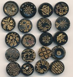 20 Antique Victorian Black Glass Buttons with Gold Luster Designs ca. Late 1800's Lot#1 by AnnieFrazier on Etsy