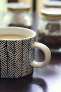 DIY patterned mugs- drawn on with a ceramics pen.
