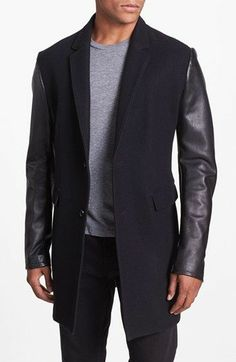 Edun Wool & Leather Top Coat available at #Nordstrom