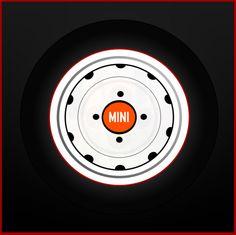 Magnetized MINI - orange wheel center cap decal