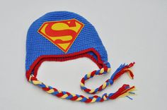 Superman hat crocheted baby hat super hero hat by geeklingdesigns, $20.00