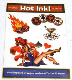 Casino Gambling High Roller Tattoo Transfers. $1.00, via Etsy.